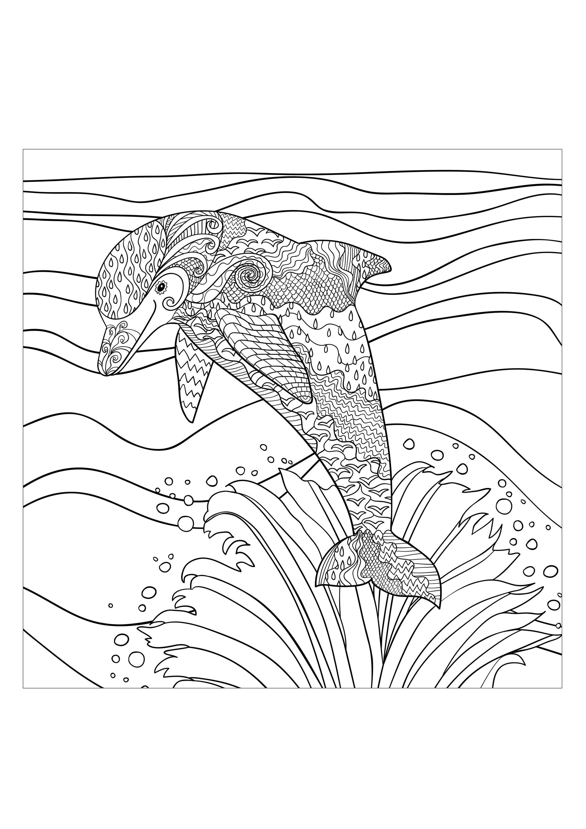 Sea Dolphin Water Worlds Coloring Pages For Adults Justcolor