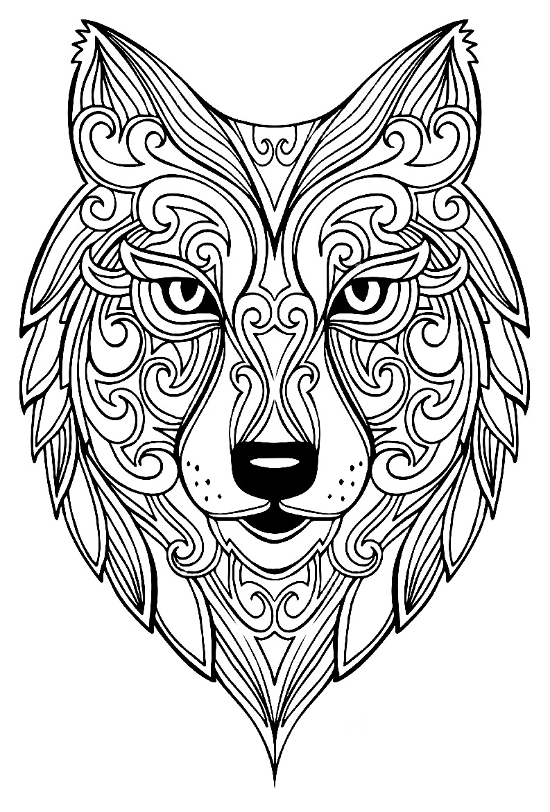 Wolf 2 Wolves Coloring Pages For Adults Justcolor