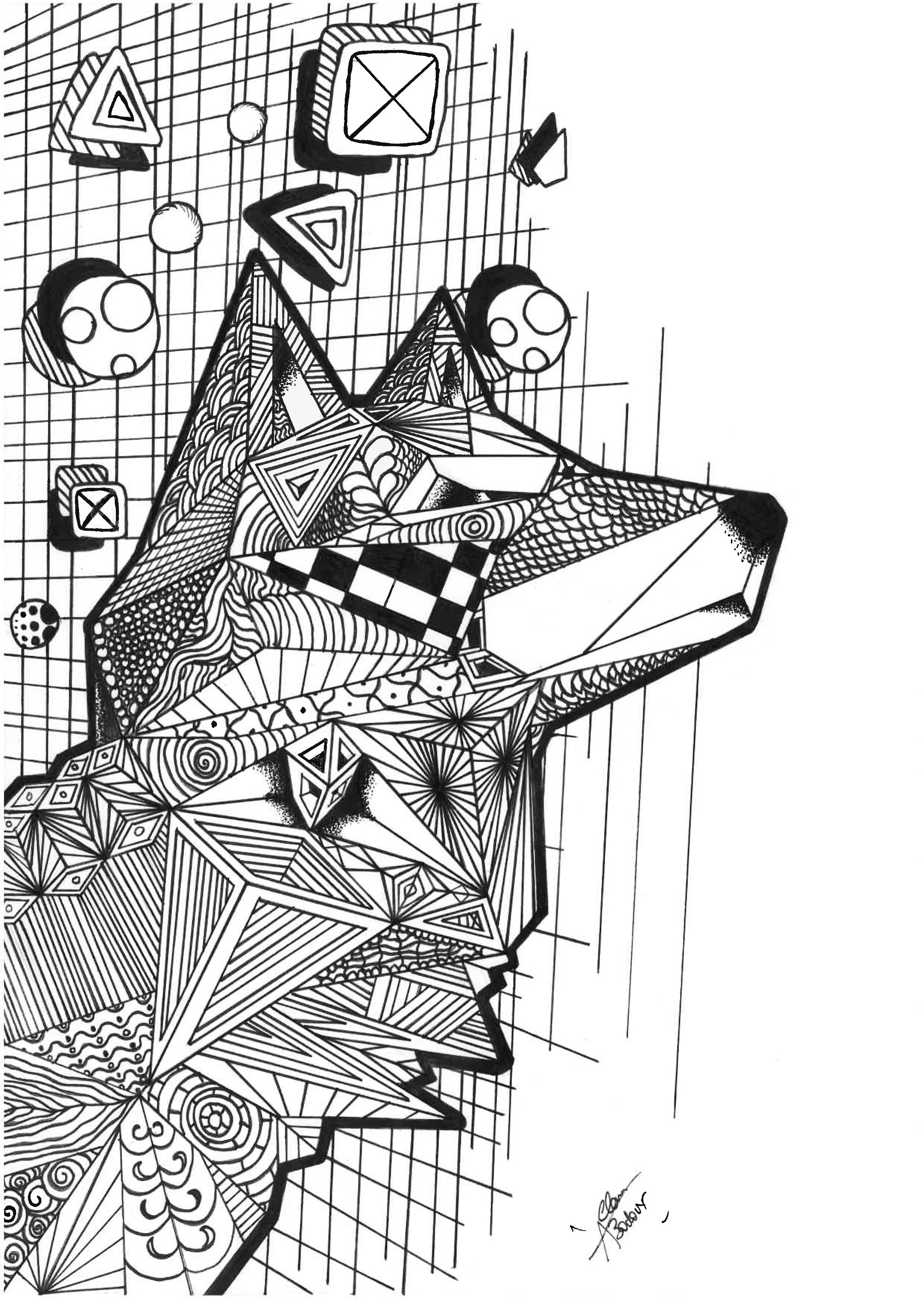 Wolf With Geometric Patterns