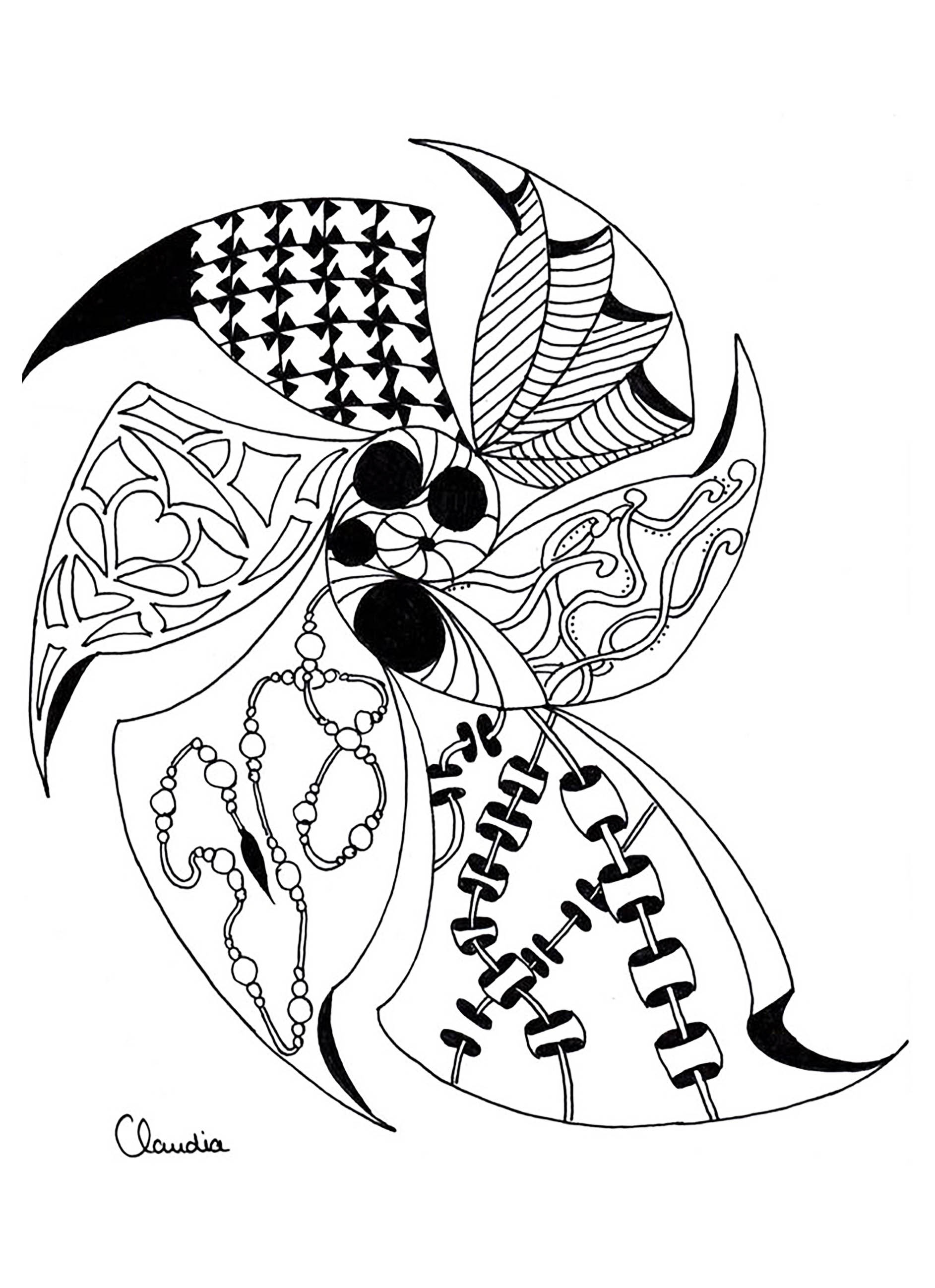 Zentangle Simple By Claudia 4 Zentangle Coloring Pages For