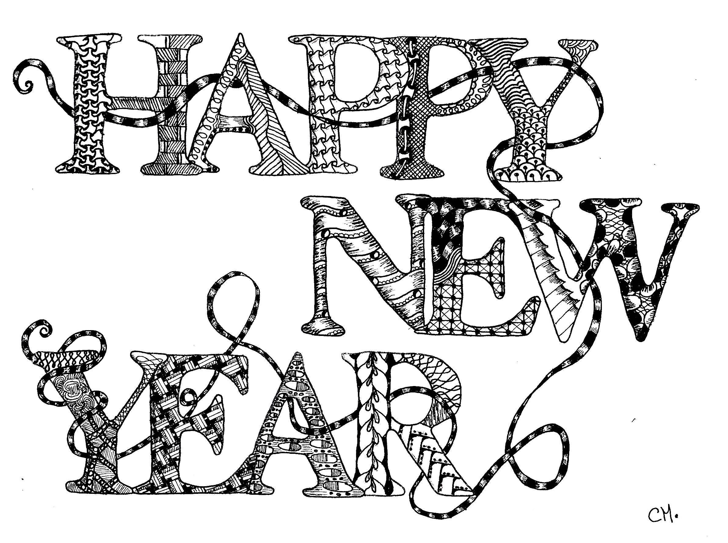Zentangle Happy New Year