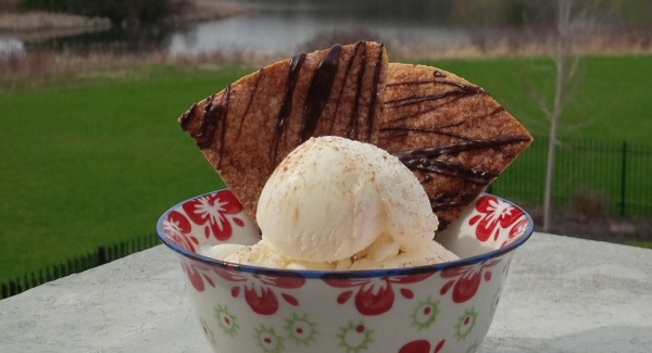 Fast Cheater Churros:  Ice Cream Sundaes with Cinnamon Sugar Tortilla Crisps
