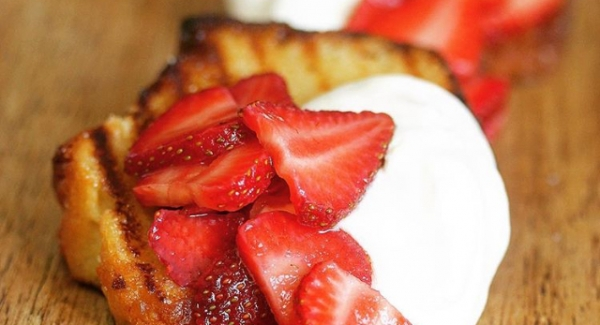 Grilled Cinnamon Sugar Sponge Cake with Whipped Cream Cheese and Boozy Berries