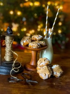 gingerbread crinkle cookies with a salted caramel glaze
