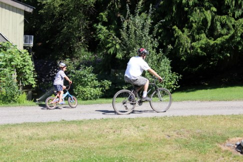 Always wear helmets when riding bikes (adults too! have to set the example)