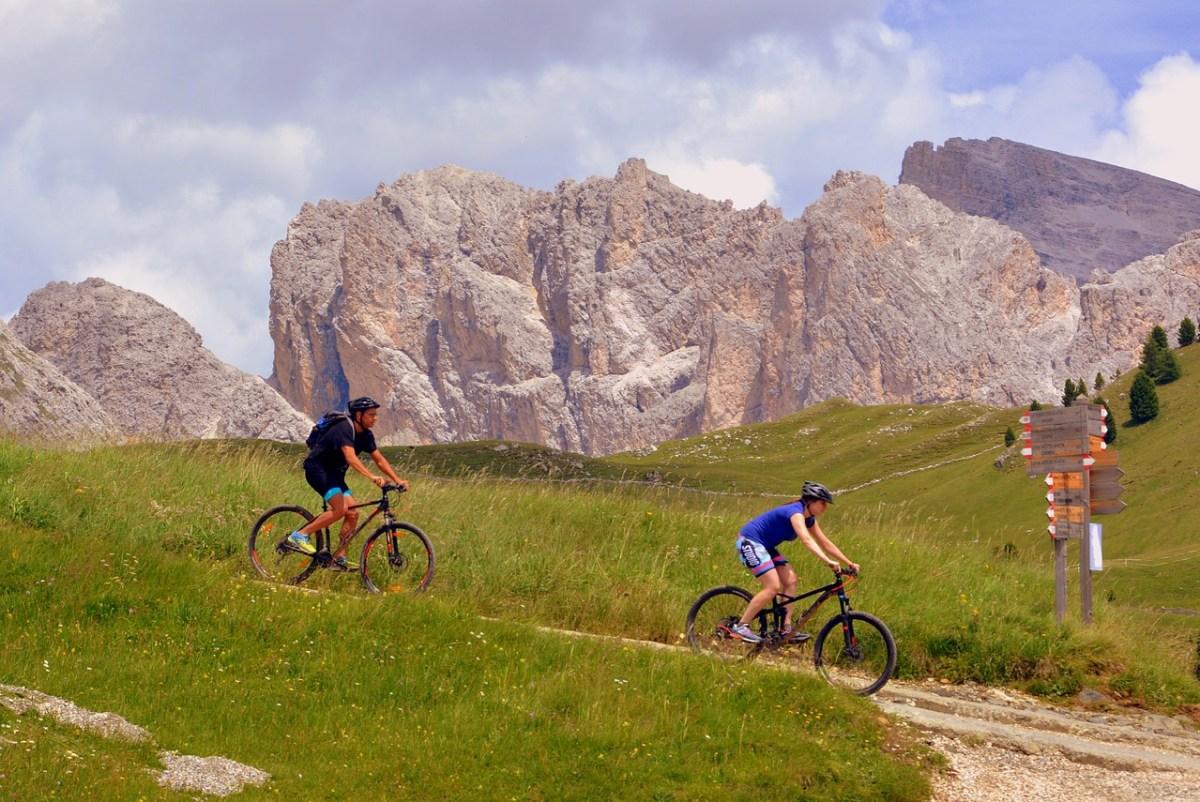 Biking is a fun camping sport.