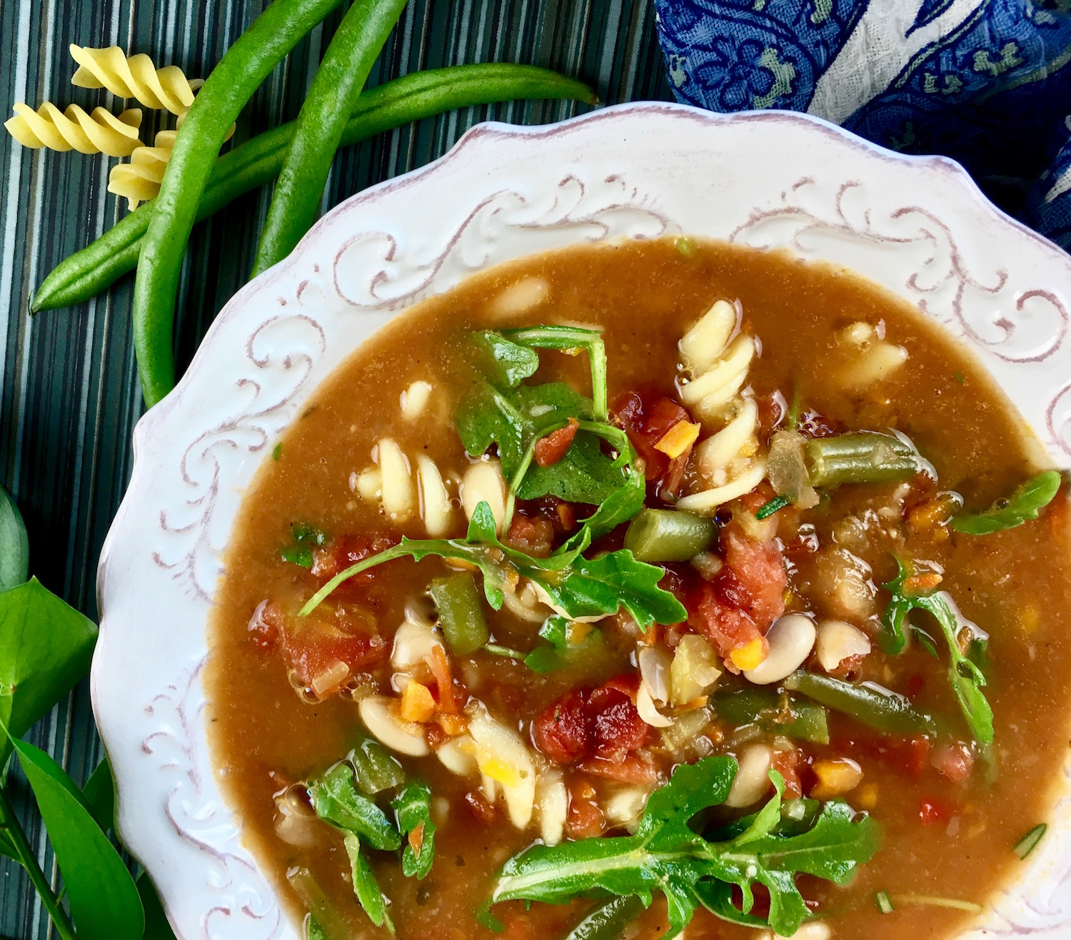 Hearty Minestrone Soup with Fresh Arugula - Just Dabbling Along