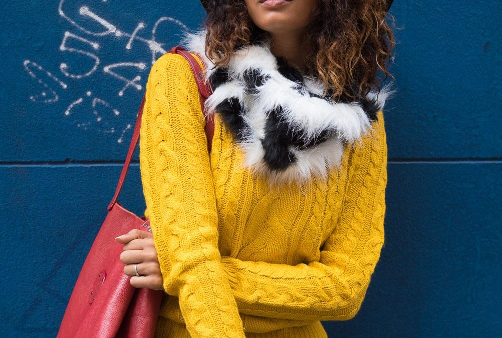 Pop colours in the winter: Mustard jumper