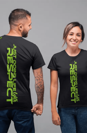 just doing life with respect tshirt - green - couple