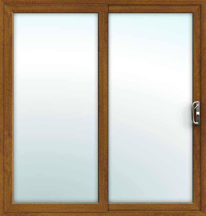 Oak Sliding Patio Doors, 2 Pane UPVC