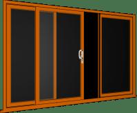 Oak 3 Pane Sliding Patio Doors