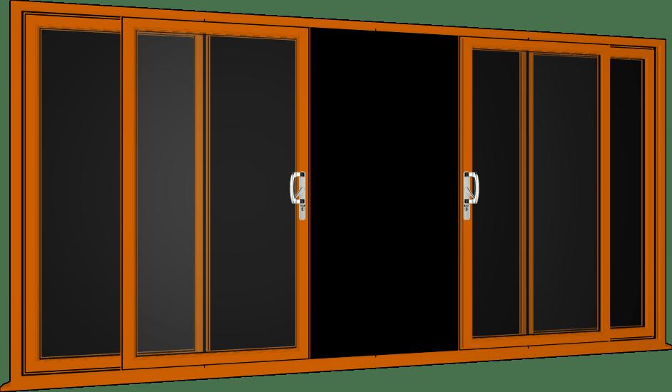 Oak Sliding Patio Doors, 4 Pane UPVC