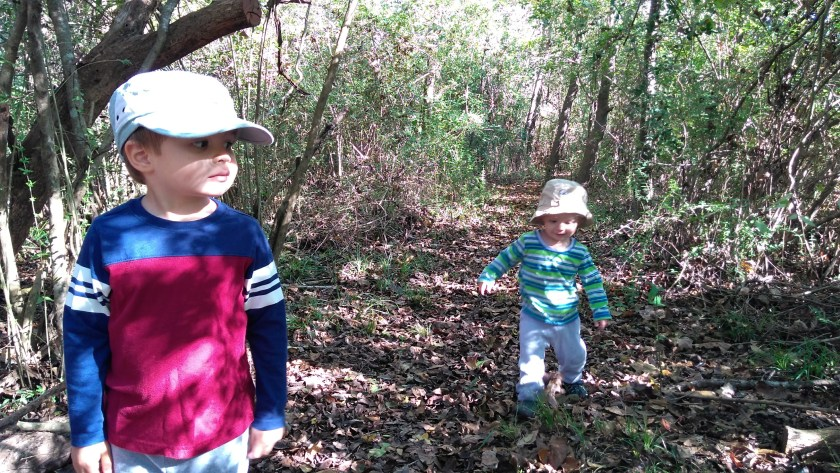 Toddlers on the nature trail, one way to get kids outdoors