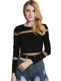 Mesh-inserted Long Sleeve Crew Neck Crop Top