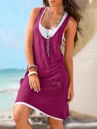 Women Two Piece Sleeveless Plain Summer Casual Dress ...