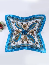 Women Vintage Silk Satin Square Head Scarves ...