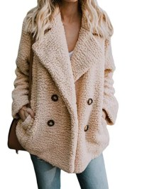 Fleece Fluffy Jacket Shawl Collar Long Sleeve Buttoned ...