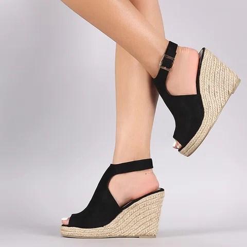 Women Wedge Espadrille Suede Peep Toe Ankle Strap