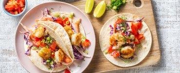 Mini-tortilla's met garnalen, groente en limoenmayonaise
