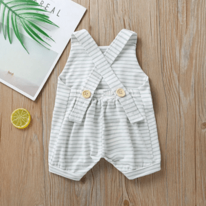 Grey & White Striped Shortall