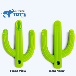Just4Tots by MAD – Jumbo Cactus Baby Teething Toy Toothbrush – 2-in-1 Baby Teether Toy – Gum Soother and Massager for Natural Teething Relief – Made of Soft, BPA-Free Food Grade Silicone-Green