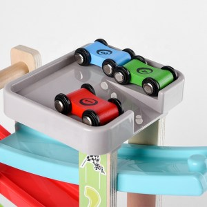 Just For Tots by MAD – Wooden Race Track 8 Ramp with 4 Wooden Race Cars – Educational Baby Toy for Toddler Boys and Girls Age 18-24 Months, 2 Years and Up – Classic Early Development Vehicle Playset Toy