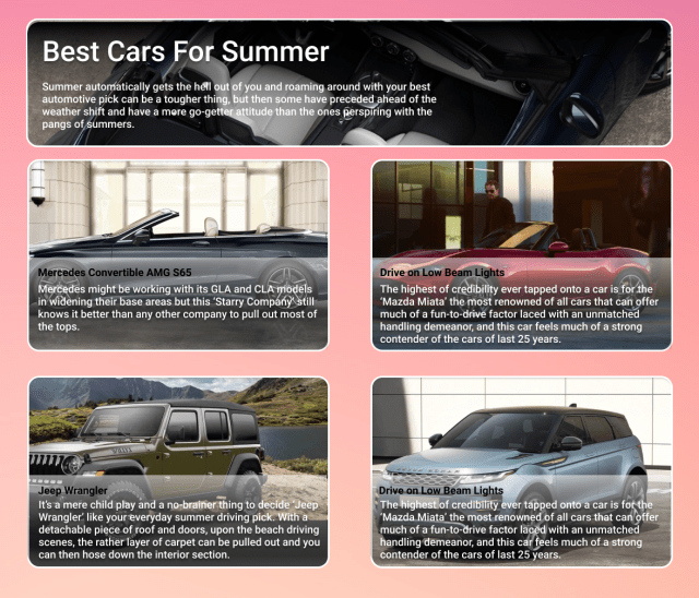 These Cars Are Best For Summer