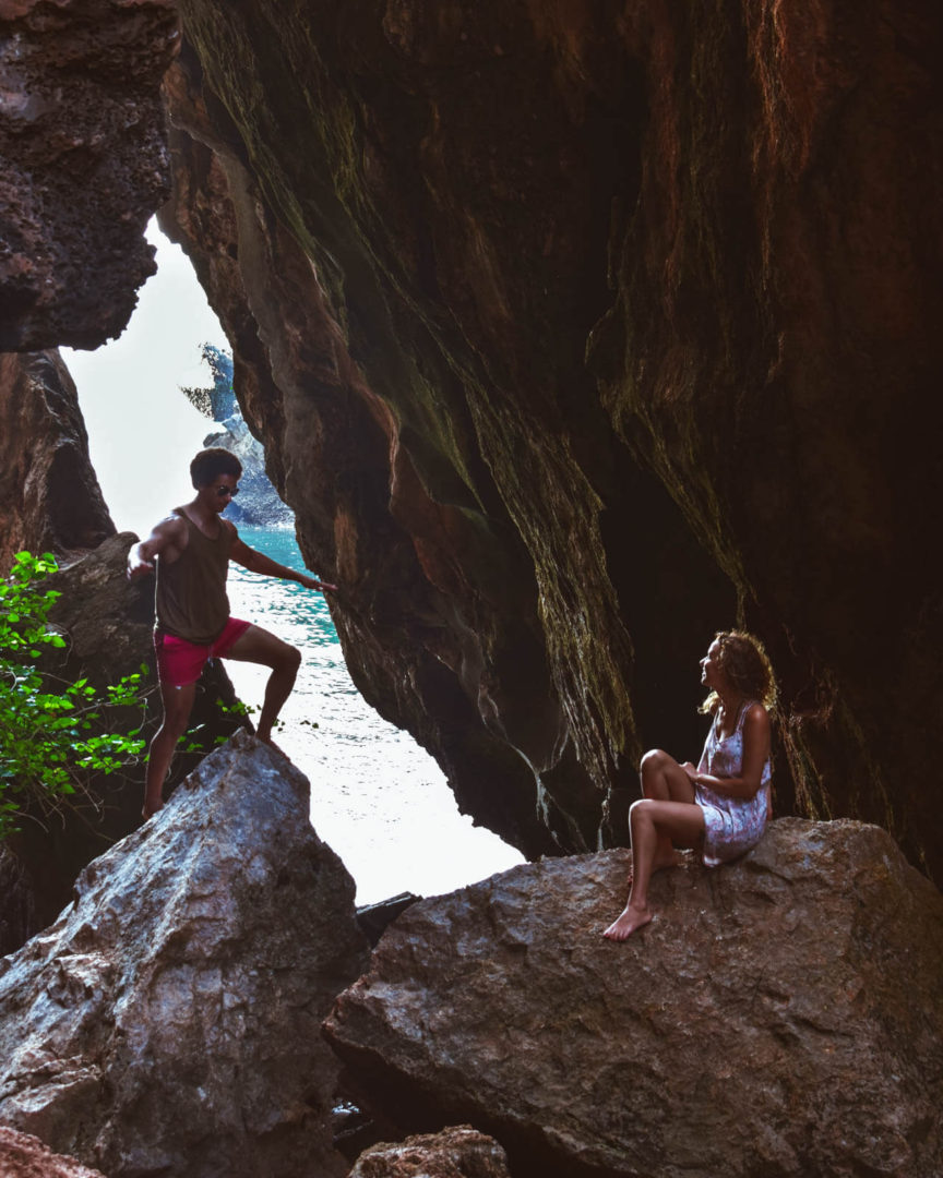 Couple in phra nang cave beach thailand