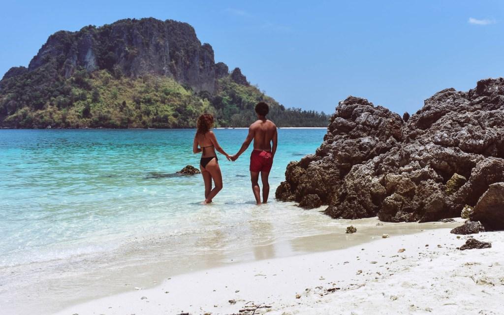 Travel couple on Tup Island, Thailand, 4 Island Tour