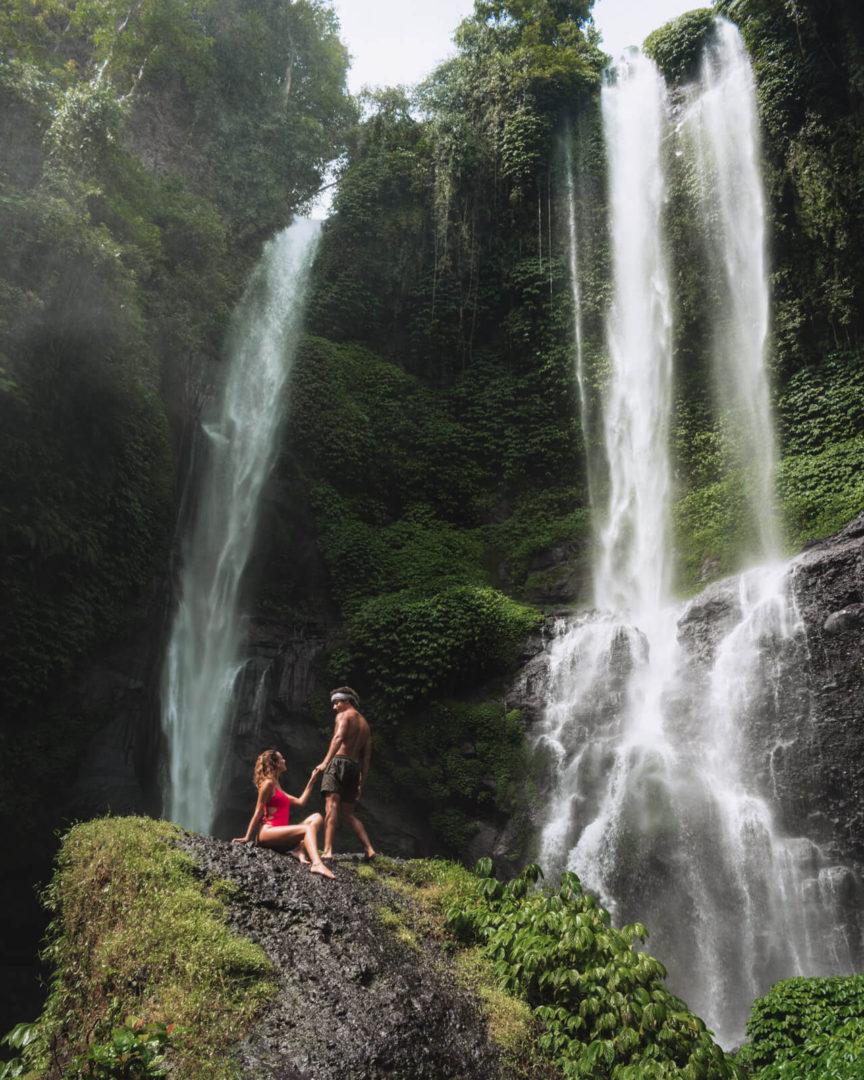 Couple at Sekumpul Waterfall in Bali