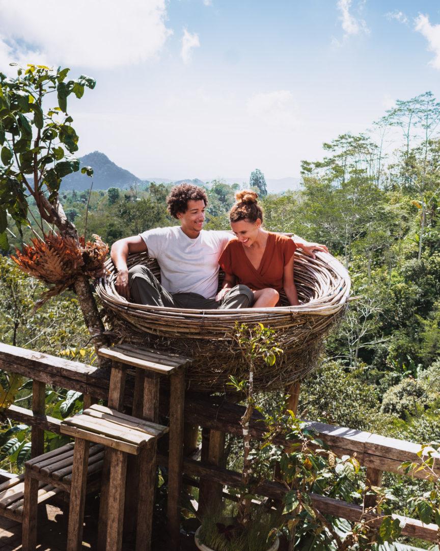 Couple in nest in Bali Munduk