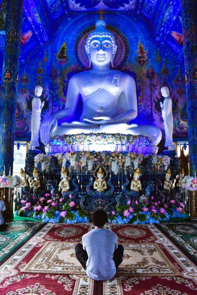 Blue Temple Chiang Rai interior big blue buddha