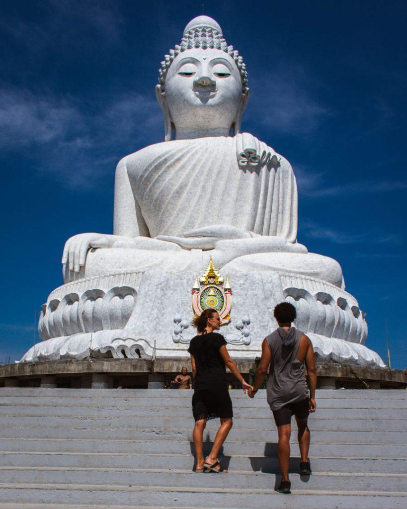 Couple walking up the steps at Big Buddha