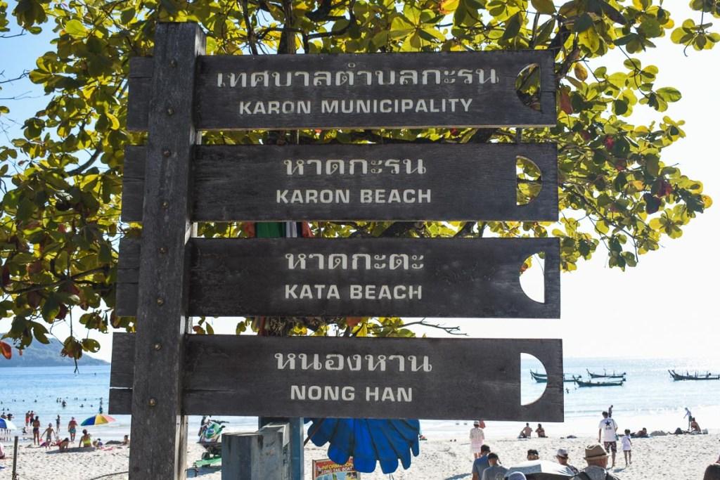 Karon municipality Kata Nong han beach signs