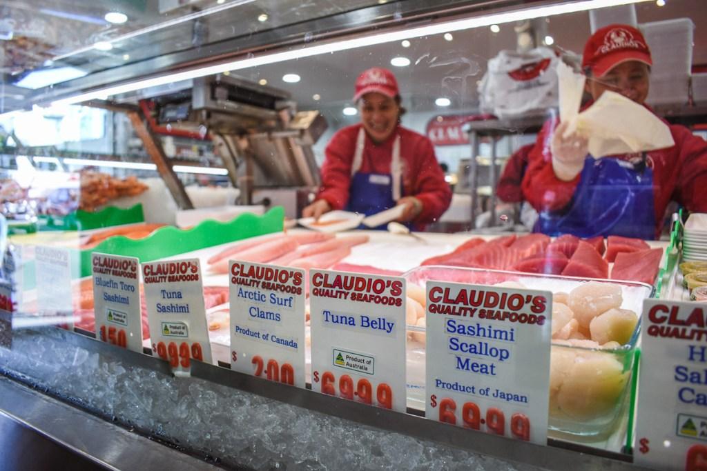 fishmongers at the market