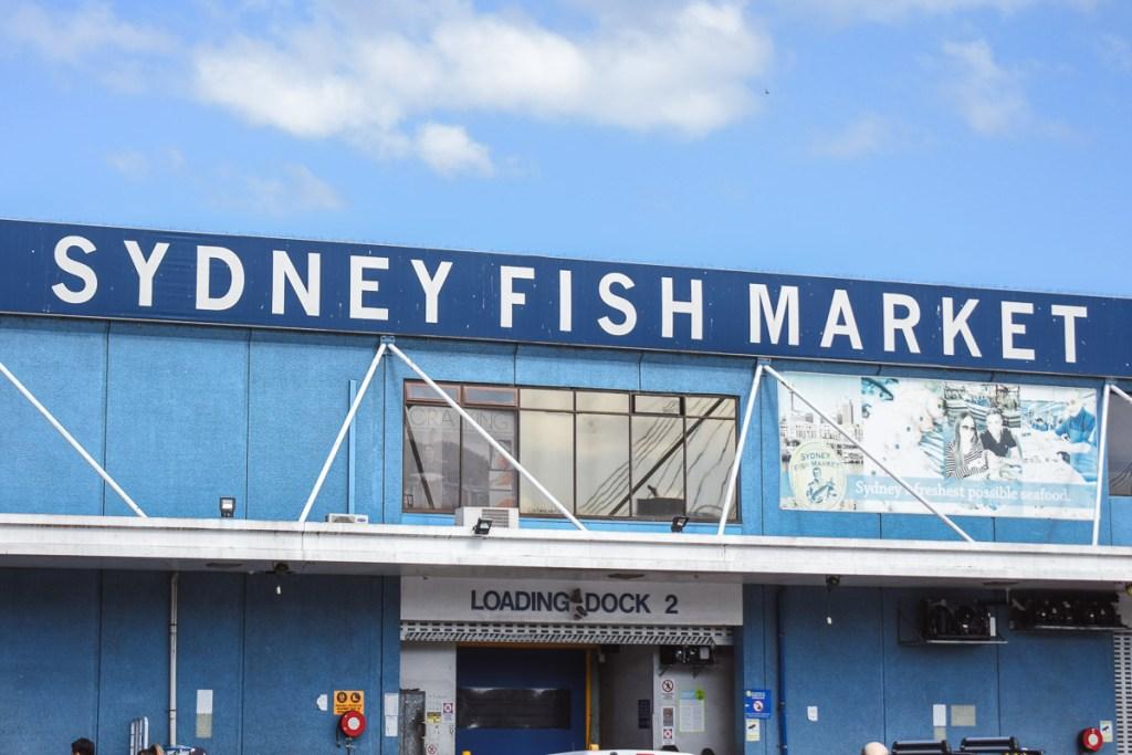 Sydney fish market blue building and sign