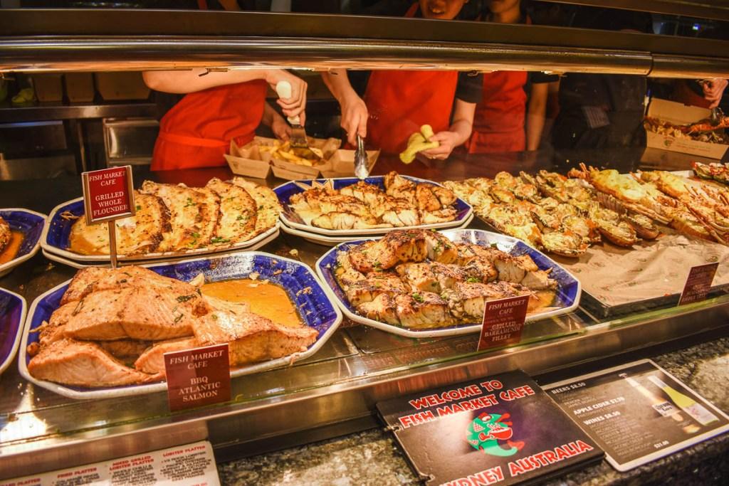 fish market cafe salmon and barramundi