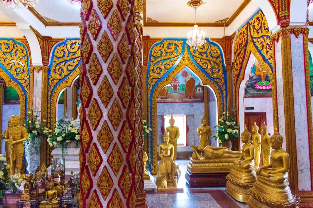 Golden buddha's through the Wat Chalong Temple
