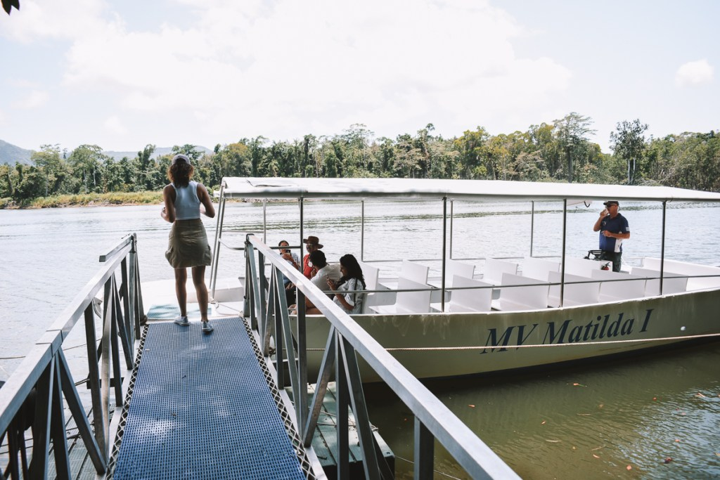 Kerrie getting on the Daintree river cruise