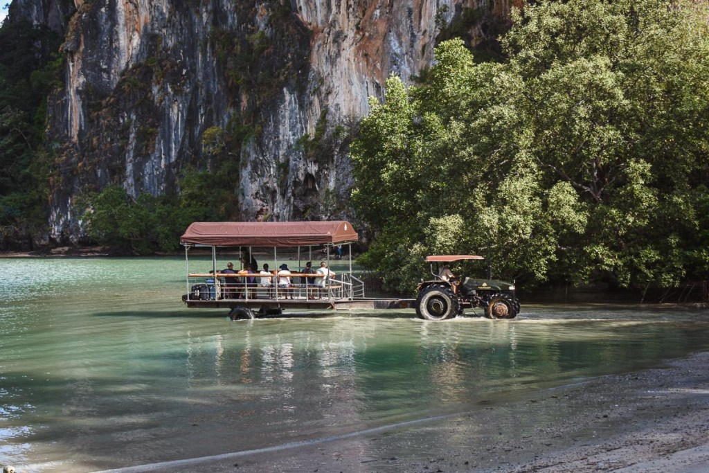 railay beach tractor in low tide
