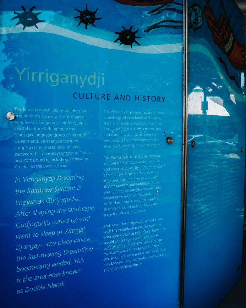 yirriganydji culture and history information board in cairns