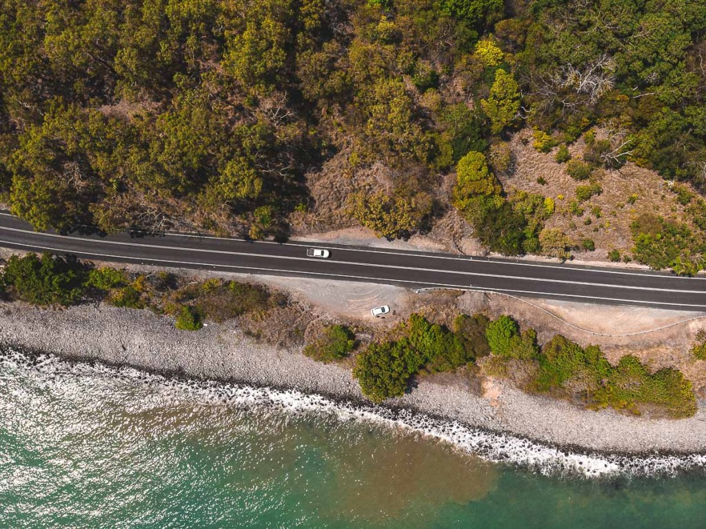 Cars driving on Captain Cook Highway east coast