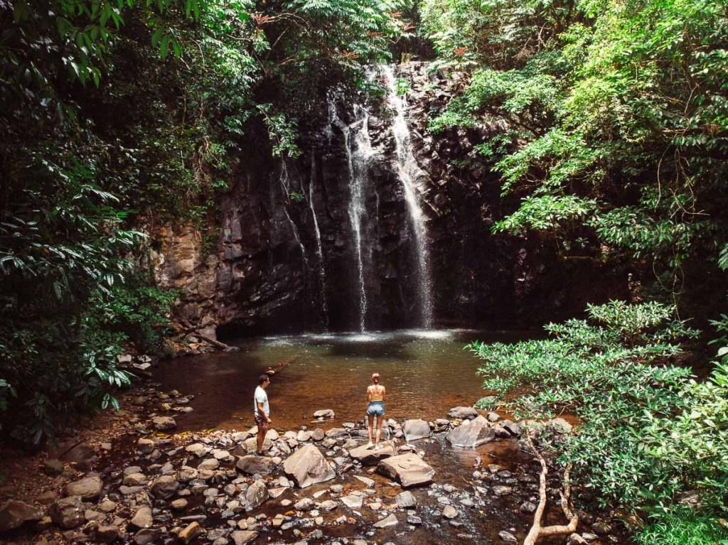 Kerrie and Woody admiring Ellinjaa Falls pretty waterfall
