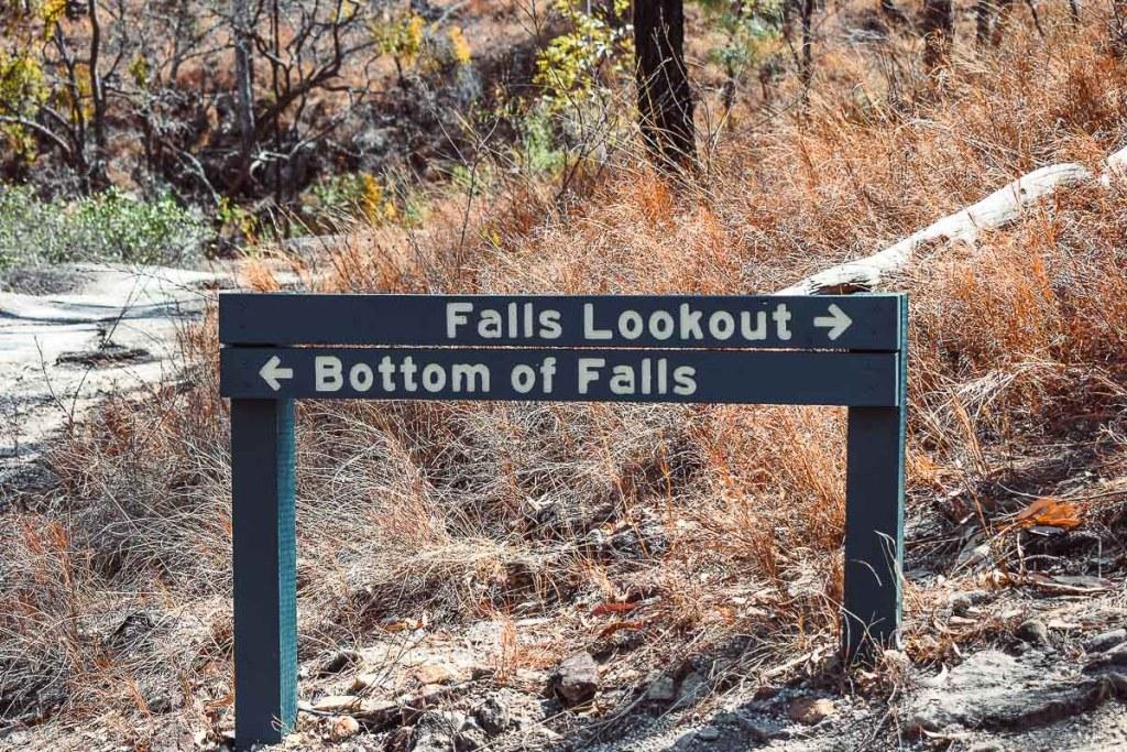 Emerald Creek falls showing bottom of falls and falls lookout