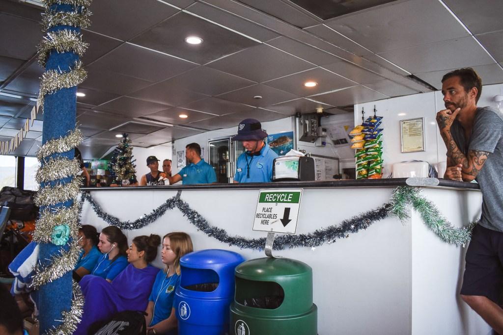 Fitzroy Island inside ferry