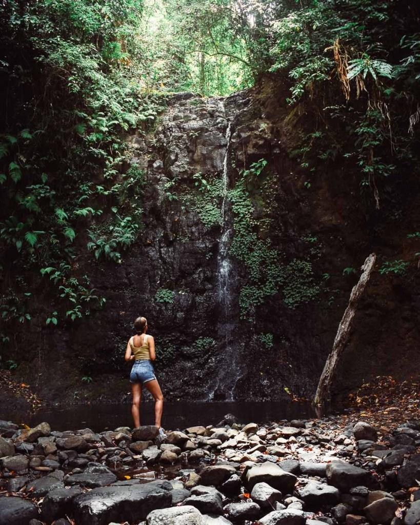 Kerrie admiring silver creek falls waterfall