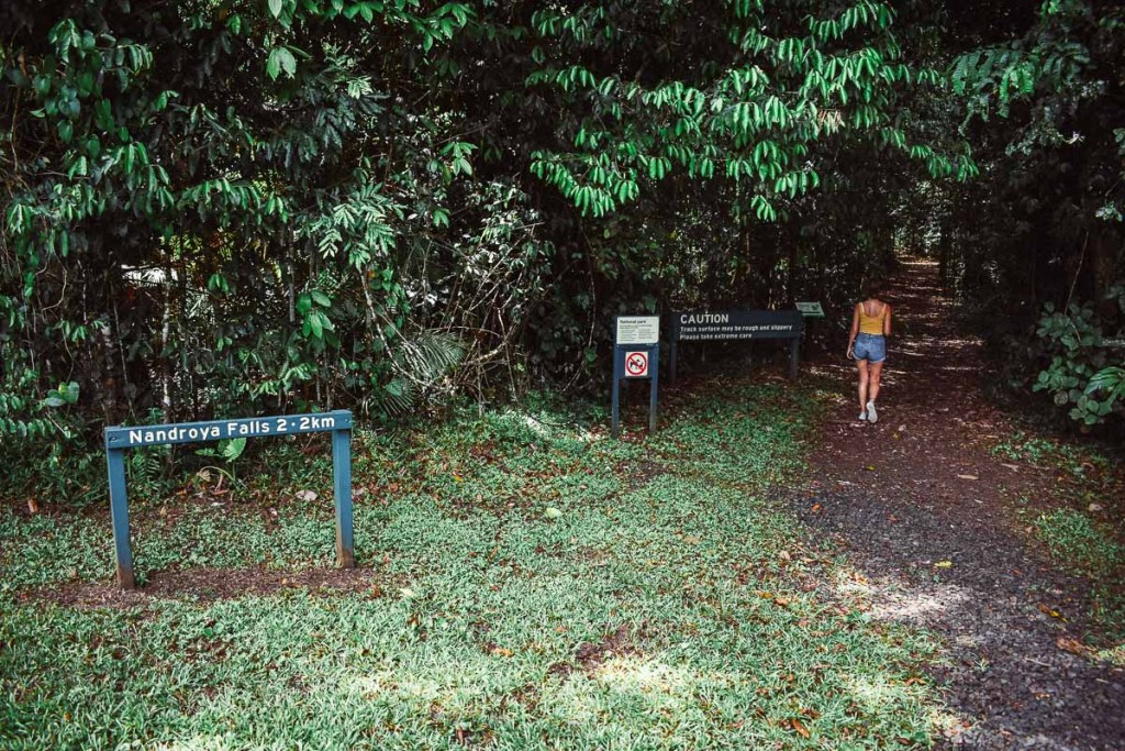 Kerrie following directions on the Nandroya Falls walking track
