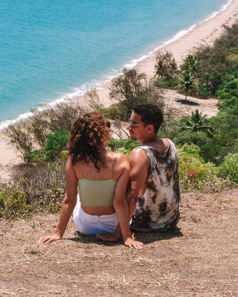 Boy and girl sitting at rex lookout point