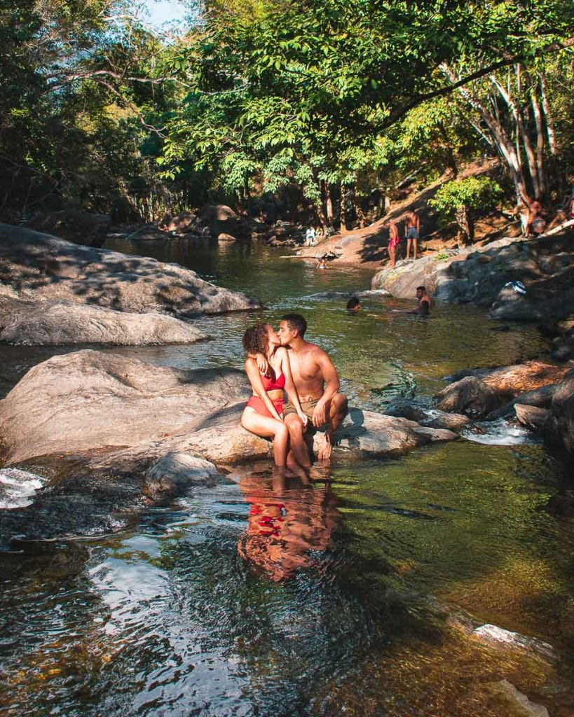 Kissing at The Crystal Cascades Swimming Hole Cairns