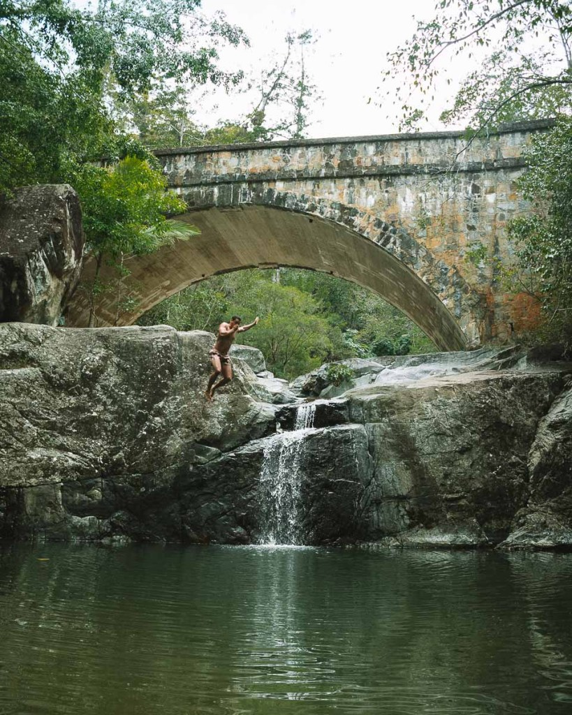 Cliff jumping at Little Crystal Creek by Townsville